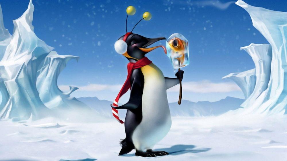 Pinguin tomando picolé de peixe